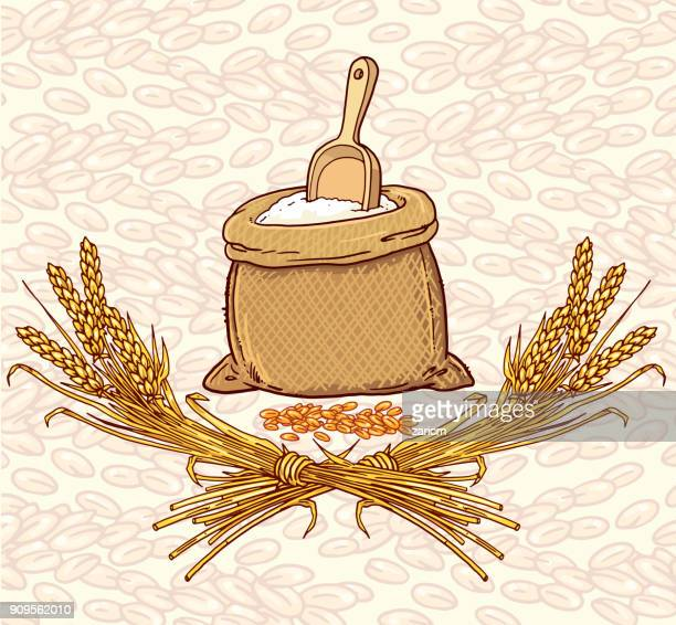 bag of flour with wheat spikes and grains - natural condition stock illustrations, clip art, cartoons, & icons