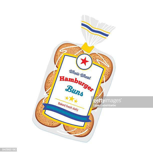 bag of hamburger buns in clear plastic - hamburger stock illustrations, clip art, cartoons, & icons