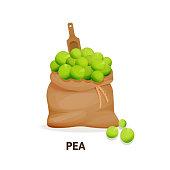 Bag of pea culture, wooden spoon