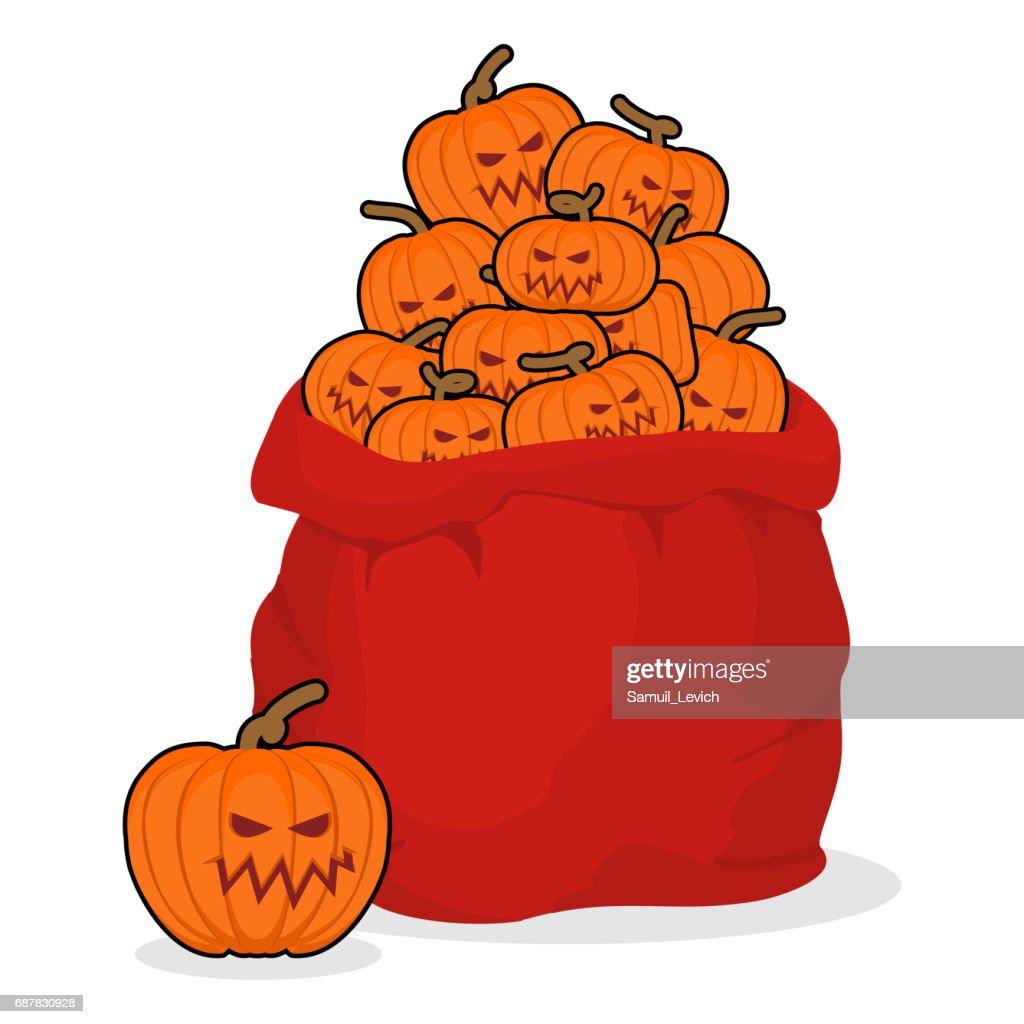 Bag scary pumpkins for Halloween. Full sack of vegetables for terrible holiday. Poster and flyer