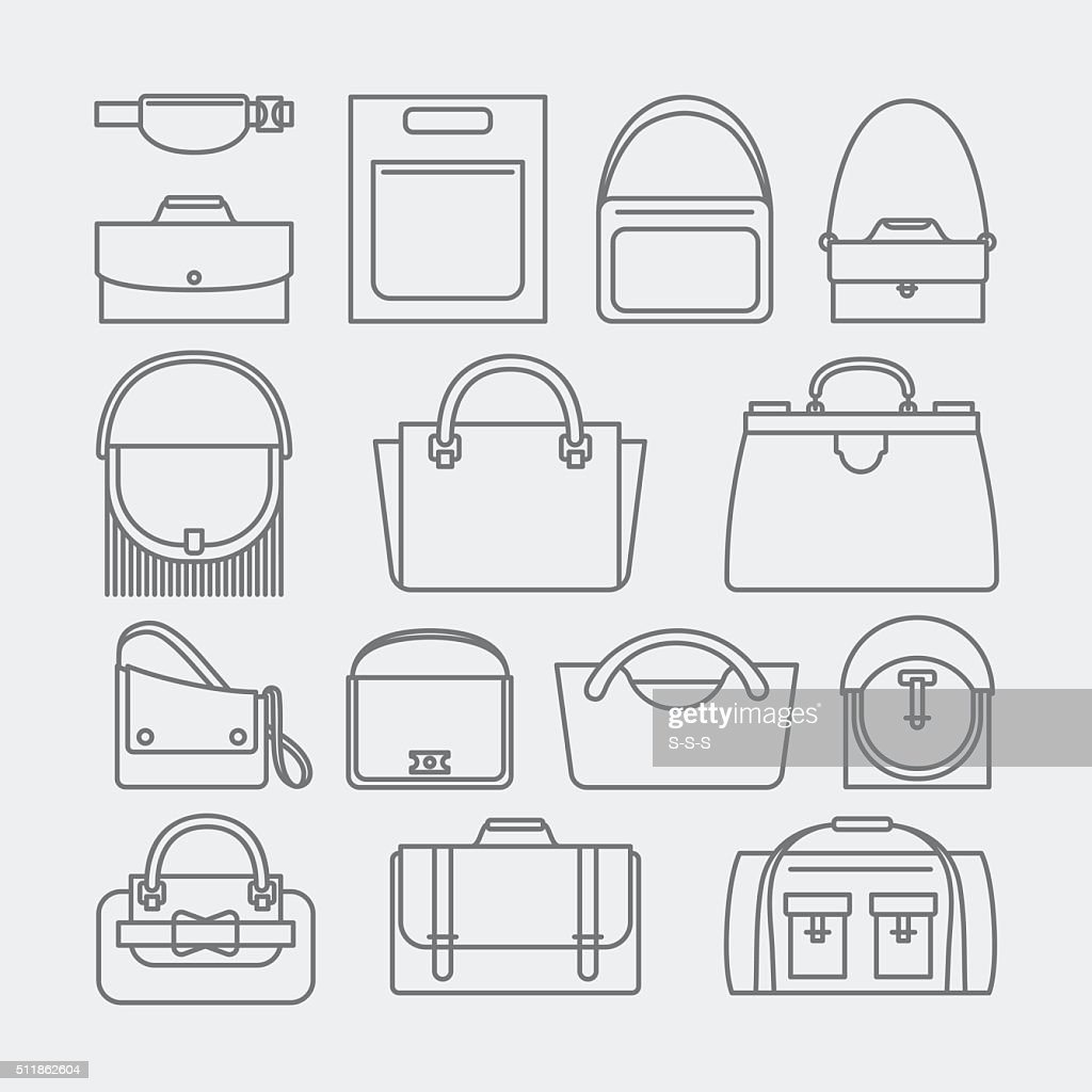 Bag thin line icons
