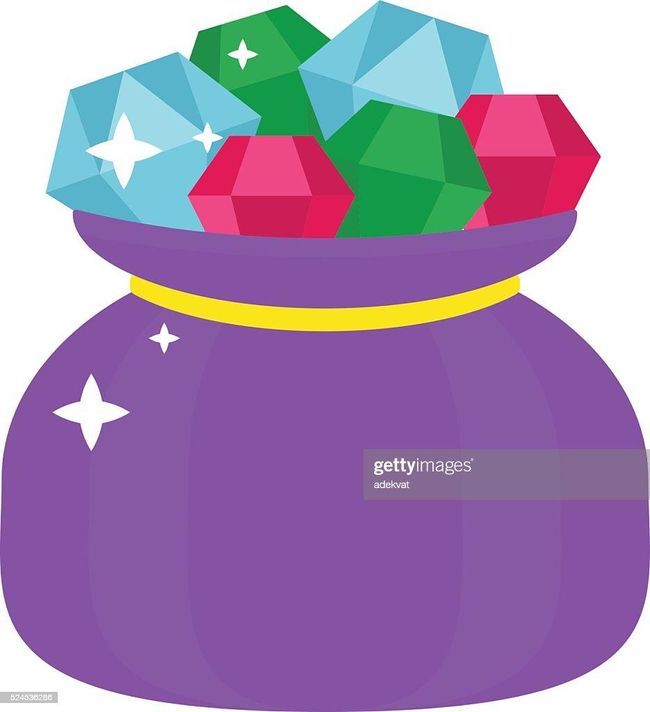 Bag with gems cartoon illustration jewels sack luxury diamond shiny