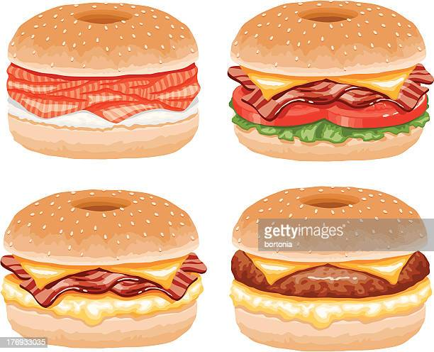 Bagel Sandwiches Icon Set
