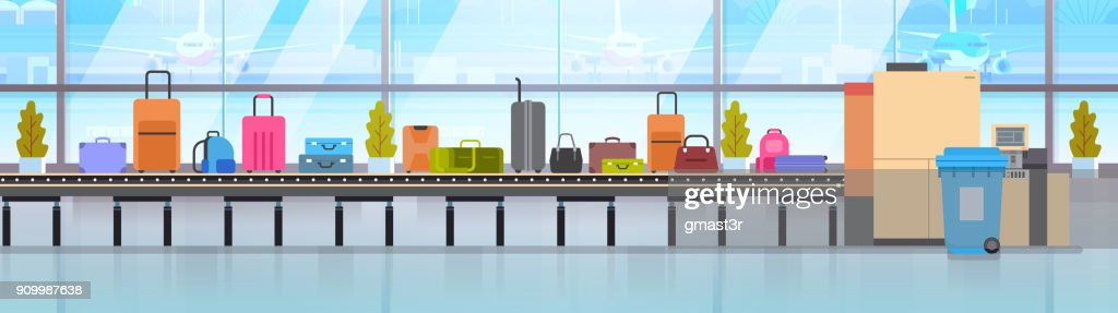 Baggage Carousel In Airport Different Suitcases Scanning On Luggage Conveyor Belt Before Departure