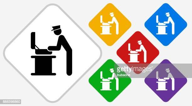 Baggage Check Color Diamond Vector Icon