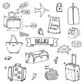 Baggage icons set