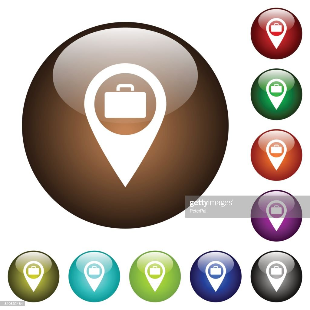 Baggage storage GPS map location color glass buttons
