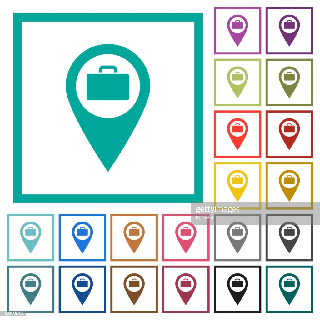 Baggage storage GPS map location flat color icons with quadrant frames