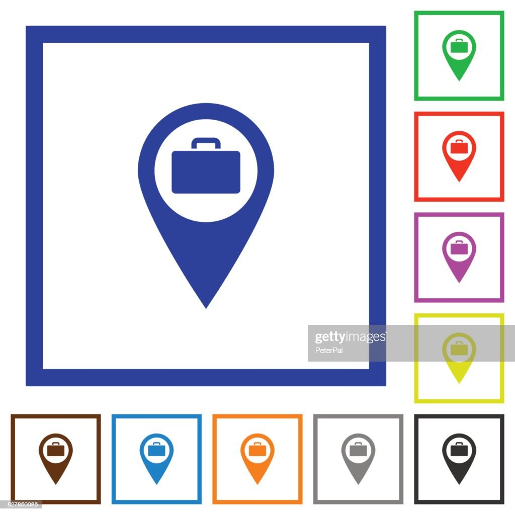 Baggage storage GPS map location flat framed icons