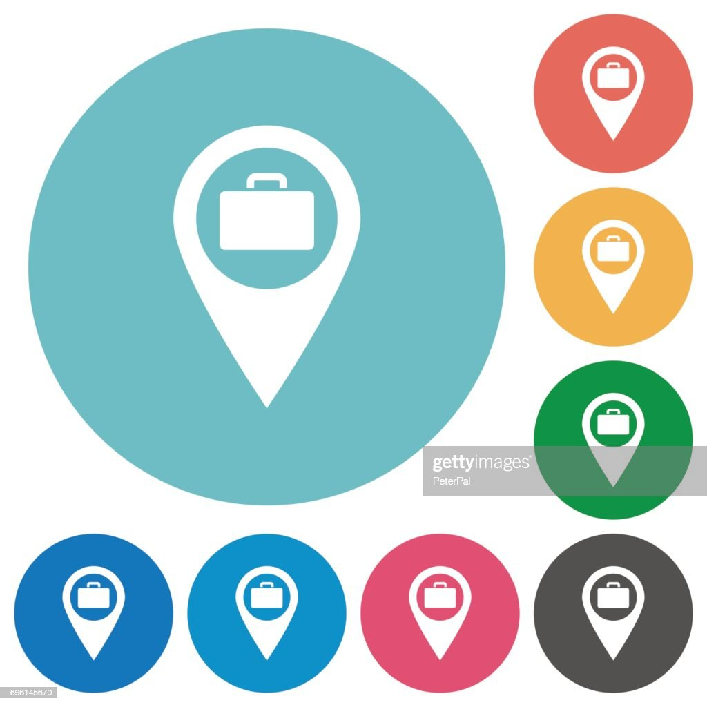 Baggage storage GPS map location flat round icons