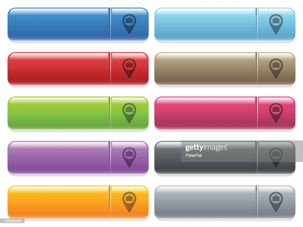 Baggage storage GPS map location icons on color glossy, rectangular menu button