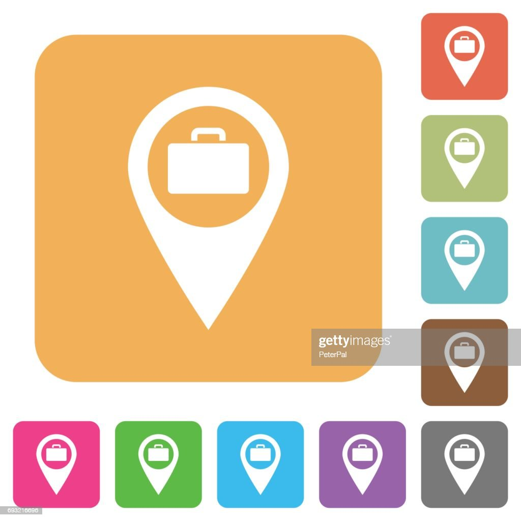 Baggage storage GPS map location rounded square flat icons