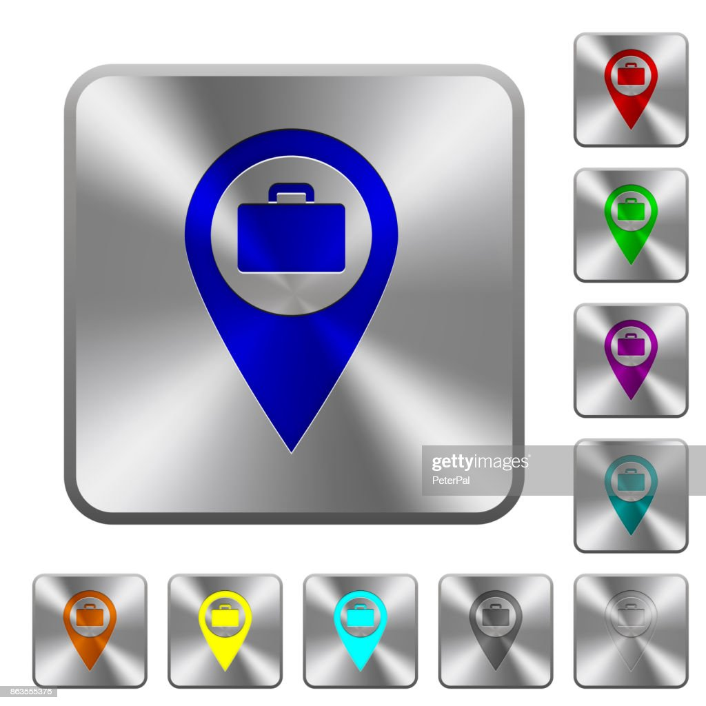 Baggage storage GPS map location rounded square steel buttons
