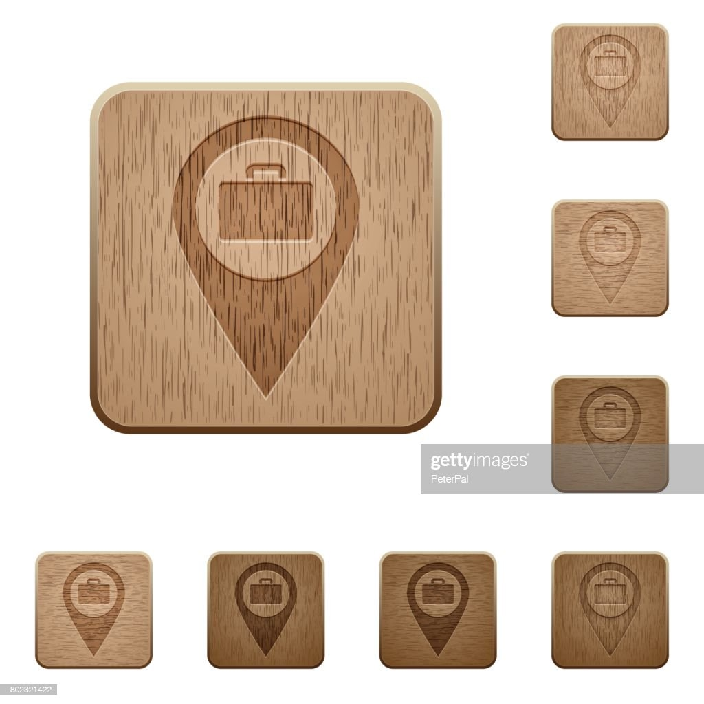 Baggage storage GPS map location wooden buttons