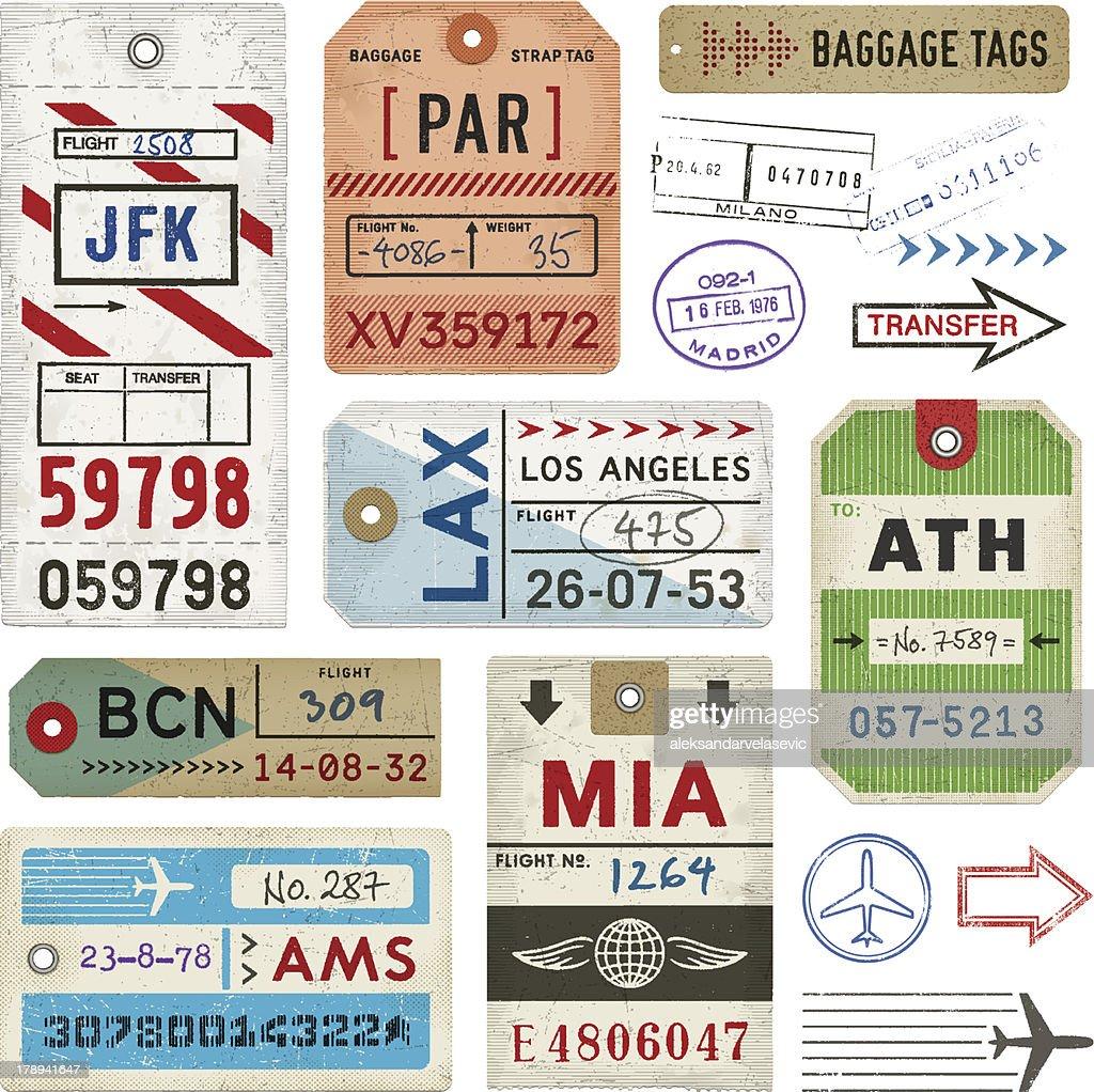 Sellos y etiquetas de equipaje : Ilustración de stock