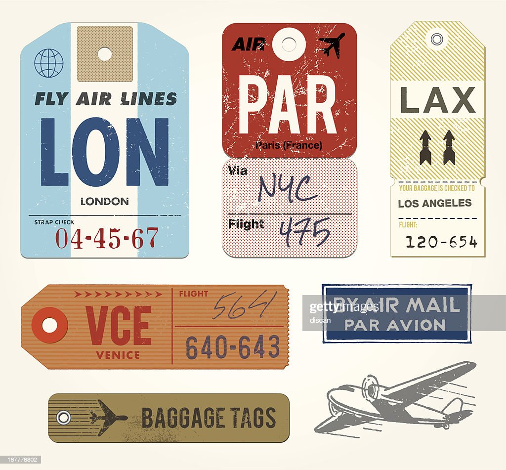 Baggage Tags and Stamps : stock illustration