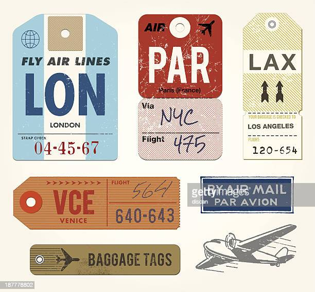 baggage tags and stamps - travel tag stock illustrations, clip art, cartoons, & icons