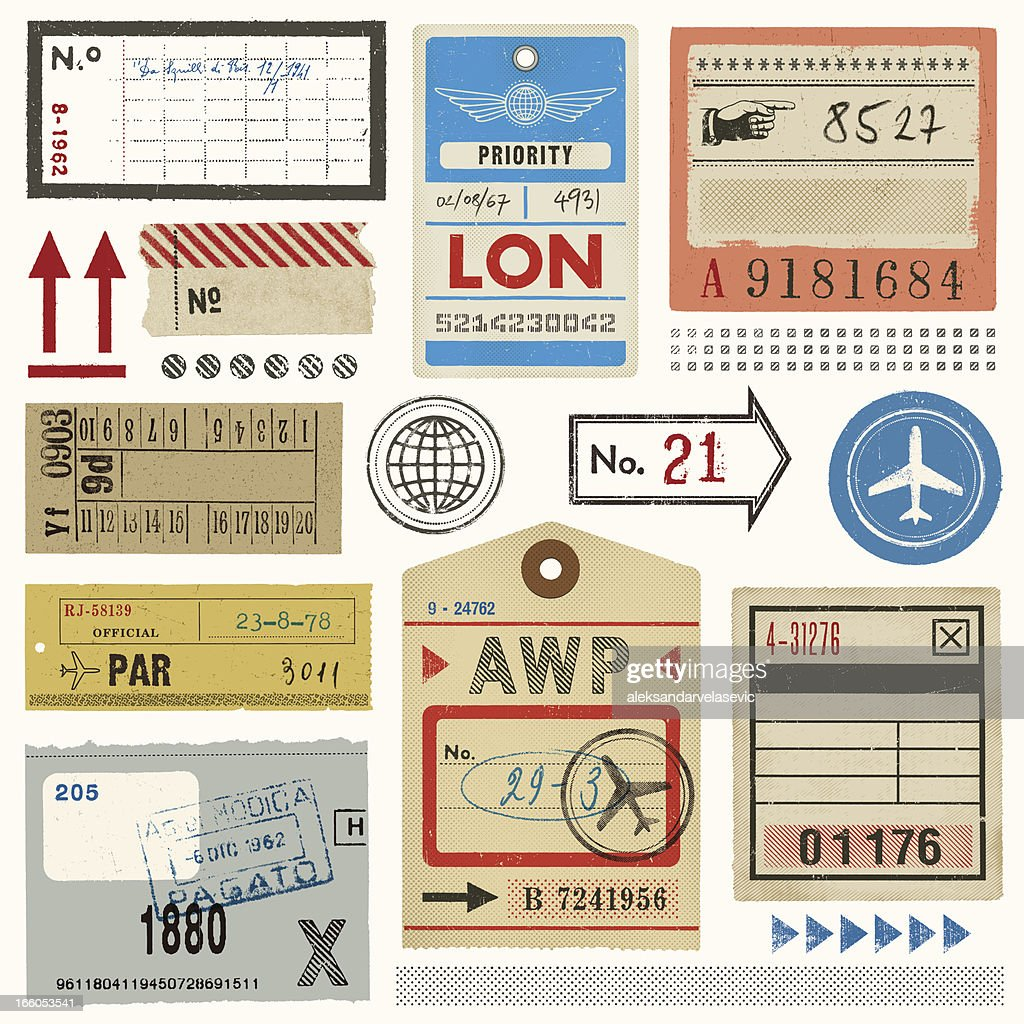 Baggage Tags,Tickets and Stamps : stock illustration