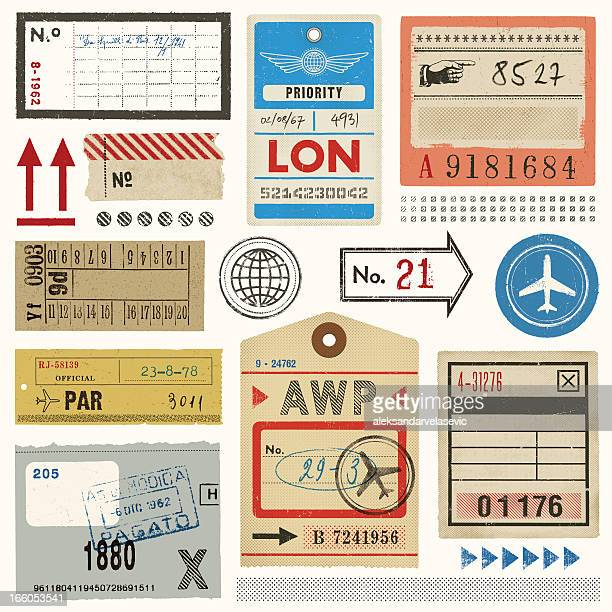baggage tags,tickets and stamps - travel tag stock illustrations, clip art, cartoons, & icons