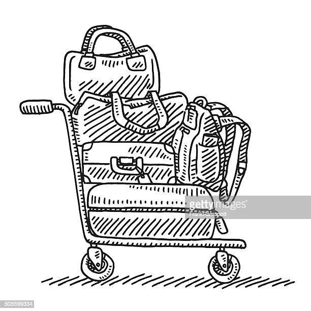 ilustraciones, imágenes clip art, dibujos animados e iconos de stock de carrito para equipaje dibujo - maleta