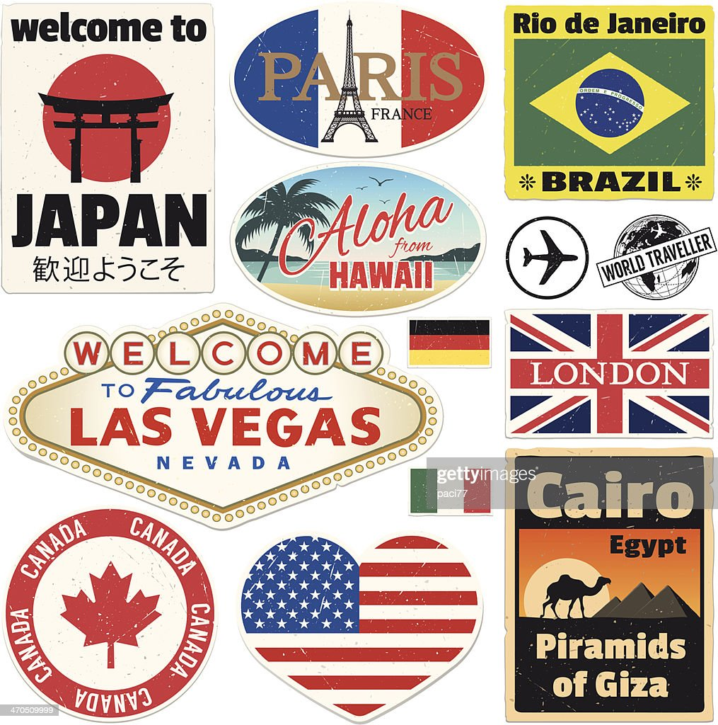 Baggage Vintage Travel Stickers : stock illustration