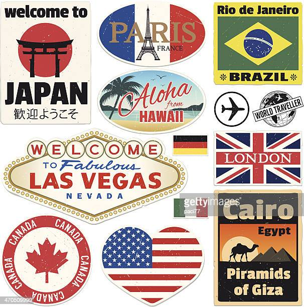 baggage vintage travel stickers - travel tag stock illustrations, clip art, cartoons, & icons