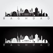 Baghdad skyline and landmarks silhouette, black and white design, vector illustration.