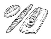 Baguette and rustic bread.