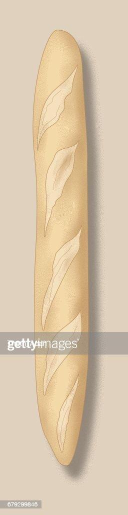Baguette (pain Illustration de pointillé) : Illustration