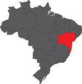 Bahia red on gray Brazil map vector