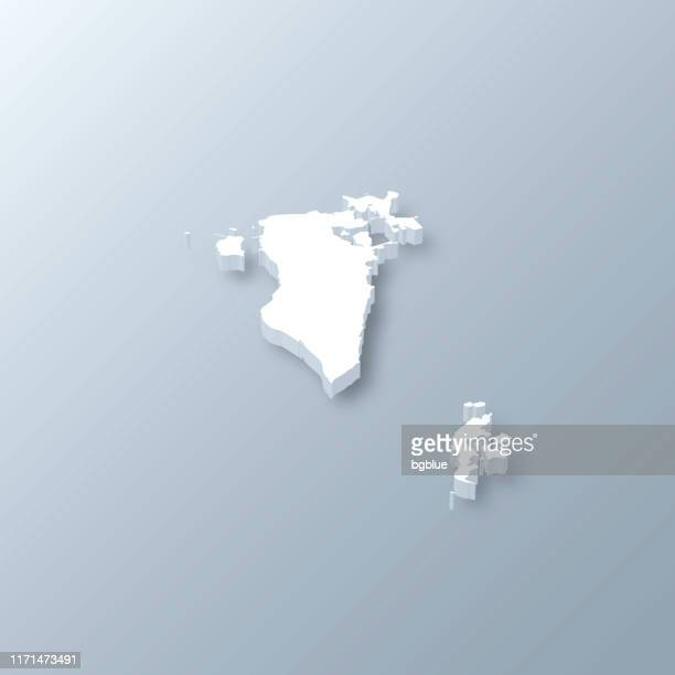 bahrain 3d map on gray background - bahrain stock illustrations, clip art, cartoons, & icons