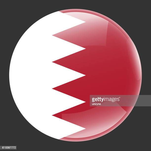bahrain flag glossy button - bahrain stock illustrations, clip art, cartoons, & icons