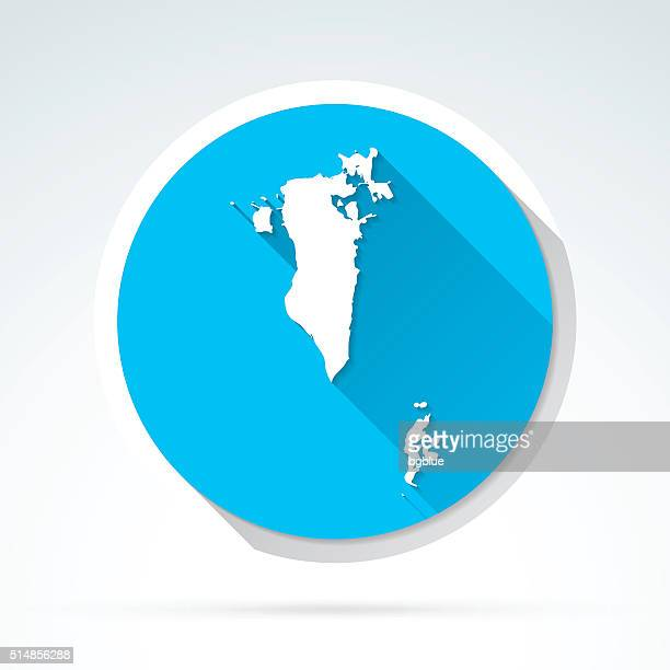 bahrain map icon, flat design, long shadow - bahrain stock illustrations, clip art, cartoons, & icons