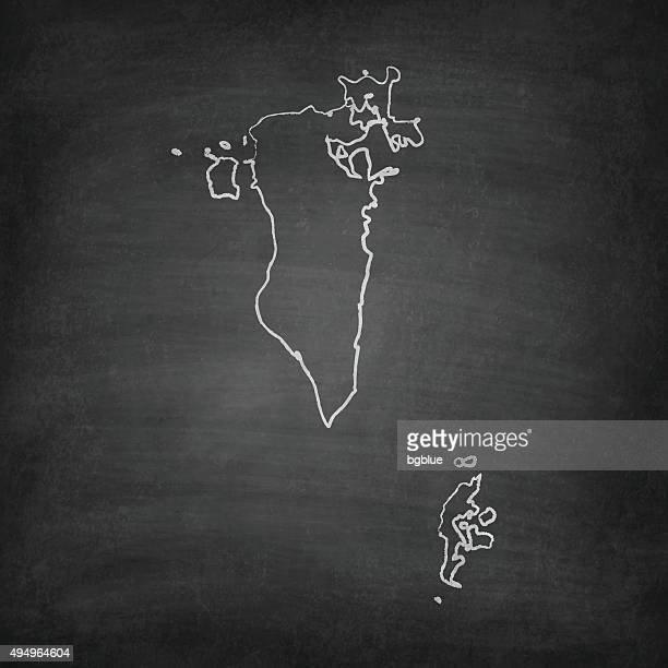bahrain map on blackboard - chalkboard - bahrain stock illustrations, clip art, cartoons, & icons