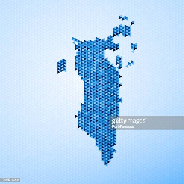 bahrain map triangle pattern blue - bahrain stock illustrations, clip art, cartoons, & icons