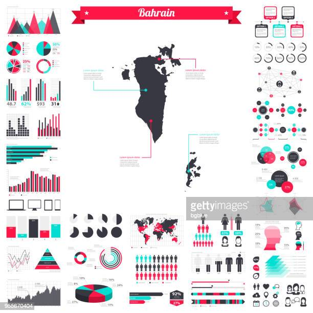 bahrain map with infographic elements - big creative graphic set - bahrain stock illustrations, clip art, cartoons, & icons