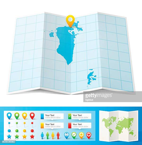 bahrain map with location pins isolated on white background - bahrain stock illustrations, clip art, cartoons, & icons