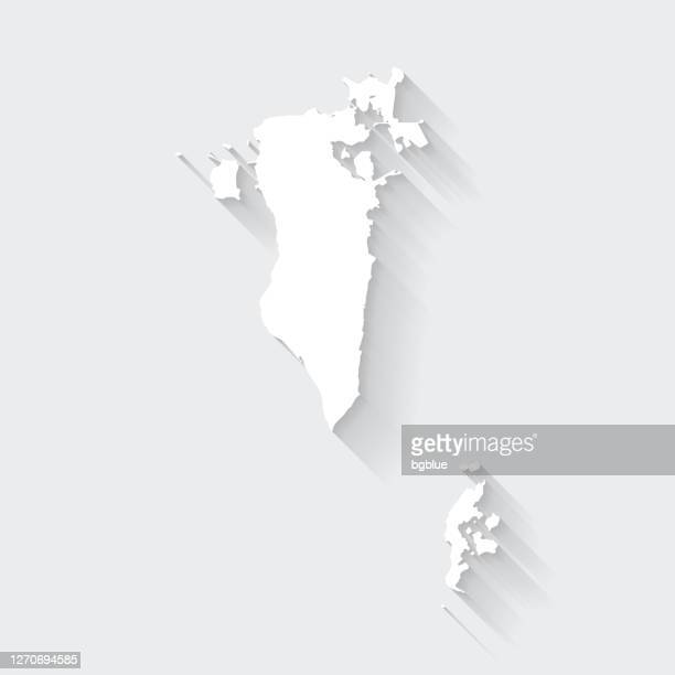bahrain map with long shadow on blank background - flat design - bahrain stock illustrations