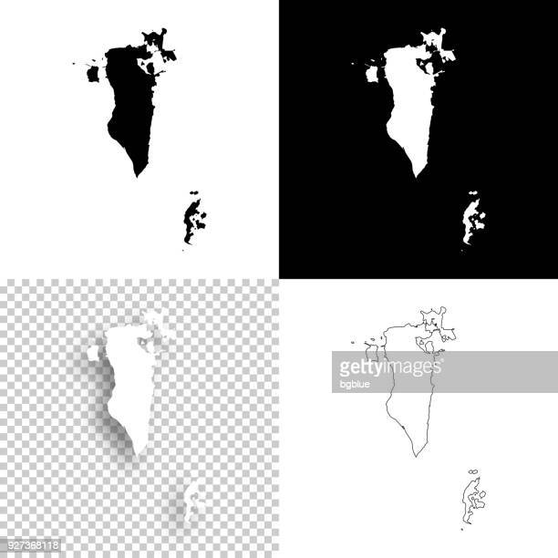 bahrain maps for design - blank, white and black backgrounds - bahrain stock illustrations, clip art, cartoons, & icons