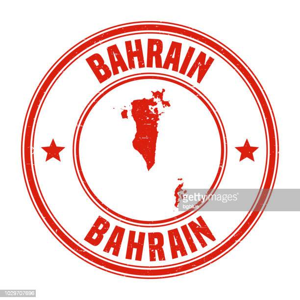 bahrain - red grunge rubber stamp with name and map - bahrain stock illustrations, clip art, cartoons, & icons