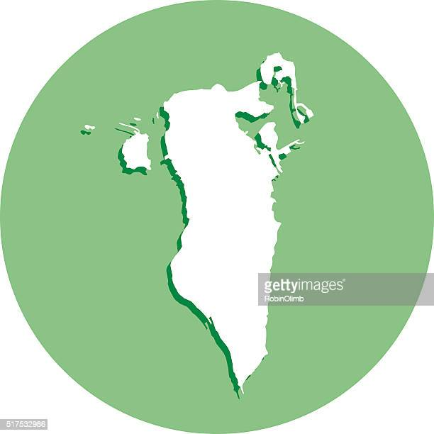 bahrain round map icon - bahrain stock illustrations, clip art, cartoons, & icons