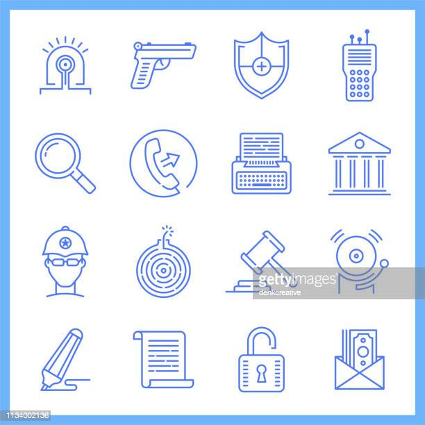 bail system & equal justice blueprint style vector icon set - bail law stock illustrations