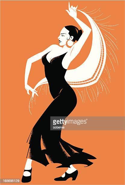 bailaora - spanish dancer stock illustrations, clip art, cartoons, & icons