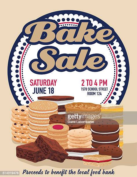bake sale poster template with cookies brownies and bars - brownie stock illustrations, clip art, cartoons, & icons