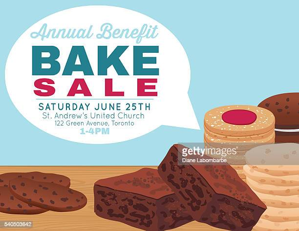 bake sale poster template with cookies brownies and bars - baked stock illustrations, clip art, cartoons, & icons
