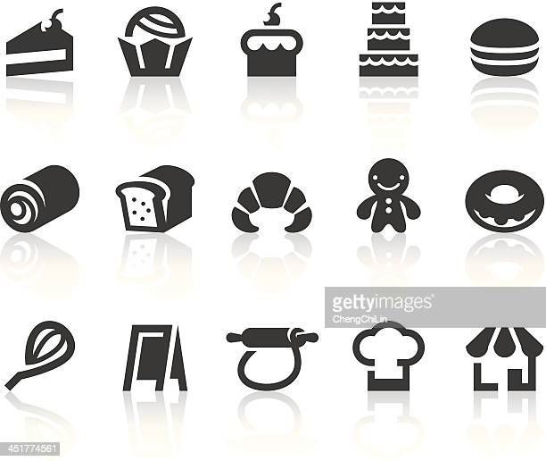 bake shop icons | simple black series - macaroon stock illustrations, clip art, cartoons, & icons