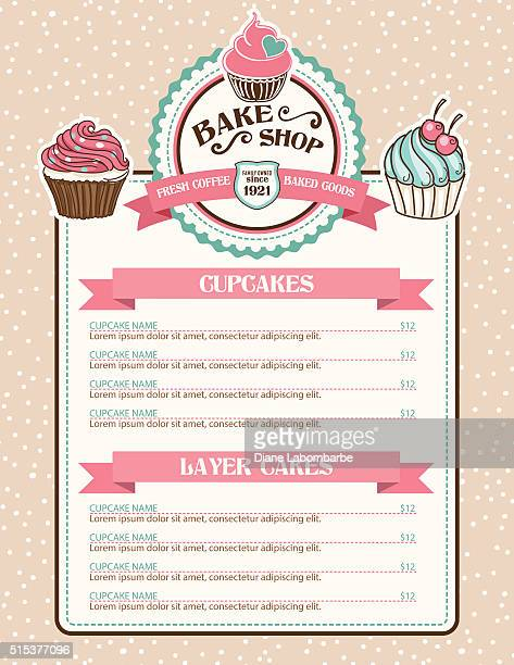bake shop sticker with cupcake and ribbon - menu background stock illustrations