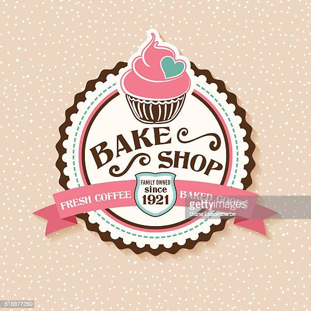 bake shop sticker with cupcake and ribbon - cake stock illustrations