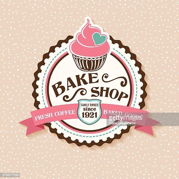 ilustraciones, imágenes clip art, dibujos animados e iconos de stock de cueza al horno tienda adhesivo con magdalena con glaseado y planos - golosina