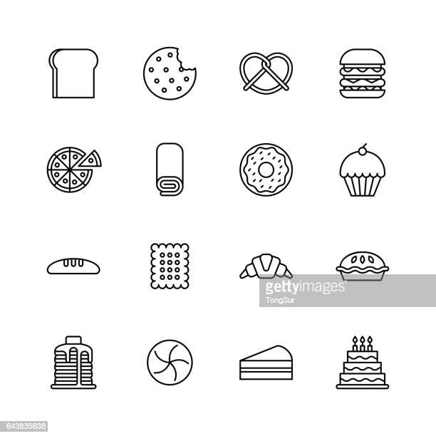 Baked bakery bread icons - line